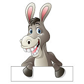 Vector illustration of Cartoon funny donkey holding blank sign