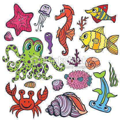Dessin anim dr le de poisson mer vie couleur doodle ensemble clipart vectoriel thinkstock - Poisson dessin couleur ...