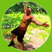 cartoon funny muscular man hanging on one hand on the background of nature