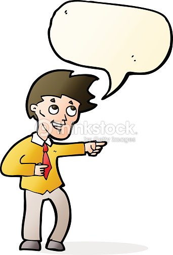 Cartoon Funny Office Man Pointing With Speech Bubble Vector Art