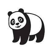 Stylized Giant panda full body drawing. Simple panda bear icon design. Black and white vector illustration.