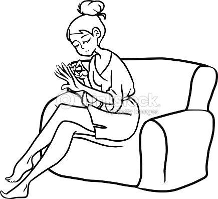 dessin de fille manucure sur le canap clipart vectoriel. Black Bedroom Furniture Sets. Home Design Ideas