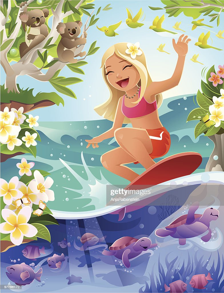 Cartoon Girl Surfing in Tropical Scene with Turtles and Koalas : Vector Art
