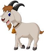 vector illustration of cartoon goat smiling