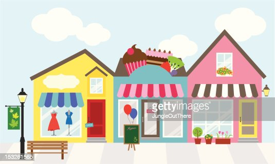 Cartoon graphic of three adjacent shops vector art getty for Centre des arts shawinigan piscine