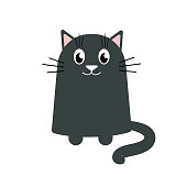 Cartoon grey cat on white background, stock vector illustration