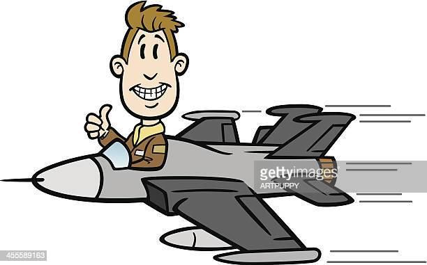 Cartoon Guy Flying Fighter Jet