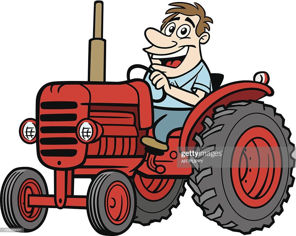 Vintage Tractor Cartoon : Cartoon guy on tractor vector art getty images