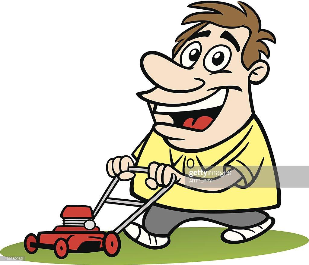 Cartoon Man On Mower : Homme en dessin animé avec tondeuse à clipart vectoriel