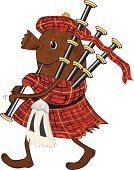 Cartoon Haggis in Tartan Kilt Playing Bagpipes with sporran and Tam o' Shanter.