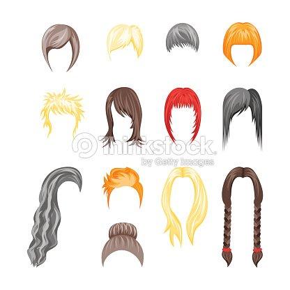 Cartoon Hairstyles Woman Set Vector Vector Art Thinkstock