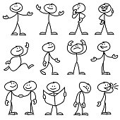 Cartoon hand drawn stick man in different poses vector set. Cartoon stick person hand drawn doodle sketch illustration