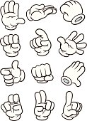 Cartoon gloved hand in different poses. Vector clip art illustration. Each in a separate layer.
