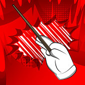 Vector cartoon hand with Magic Stick. Illustrated hand on comic book background.