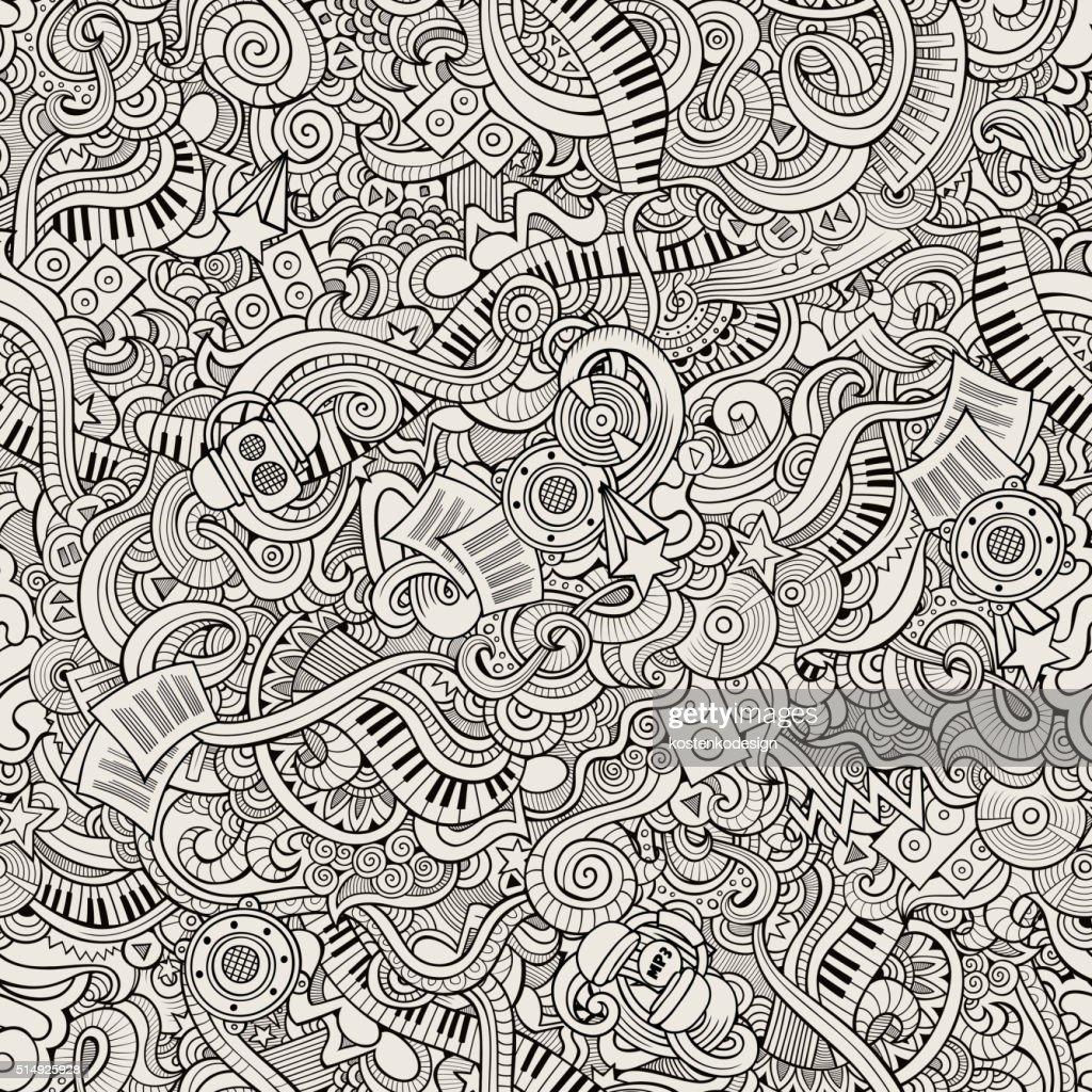 Cartoon hand-drawn doodles music seamless pattern