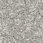 Cartoon hand-drawn doodles on the subject of musical theme seamless pattern. Line art sketchy detailed, with lots of objects vector background