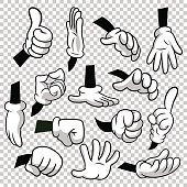 Cartoon hands with gloves icon set isolated on transparent background. Vector clipart - parts of body, arms in white gloves. Hand gesture collection. Design templates, EPS8 illustration.