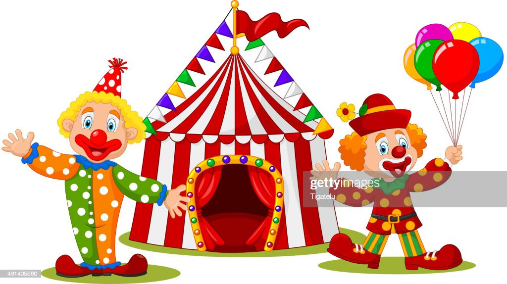 Cartoon happy clown in front of circus tent  Vector Art  sc 1 st  Thinkstock & Cartoon Happy Clown In Front Of Circus Tent Vector Art | Thinkstock