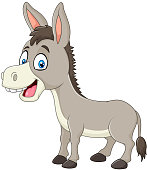 Illustration of Cartoon happy donkey isolated on white background