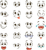 Cartoon happy faces with different expressions. Vector illustration. Happy face emotion, funny character emoticon caricature