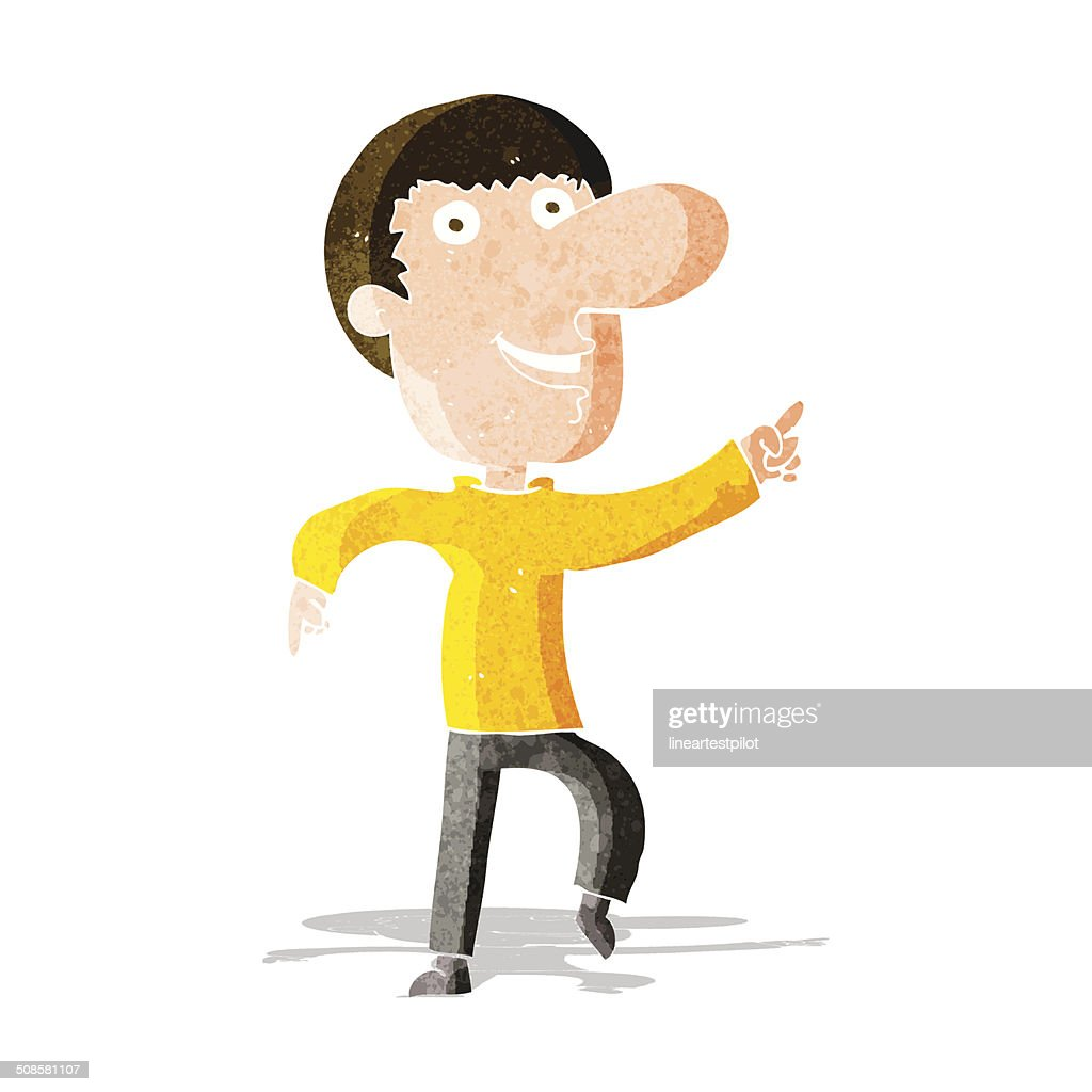 cartoon happy man dancing : Vector Art