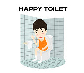 Cartoon happy man sitting on a toilet and smiling isolated on white background - Vector illustration