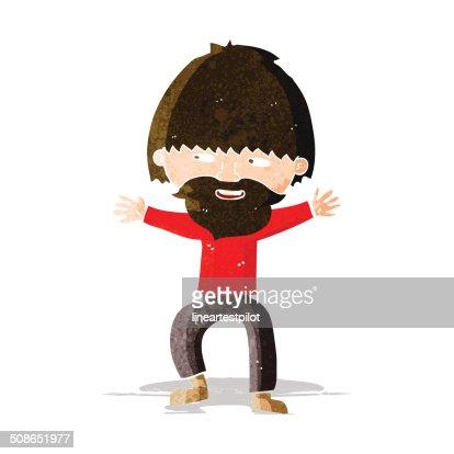 cartoon happy man with beard : Vector Art
