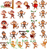 Vector illustration of Cartoon happy monkey collection with different actions