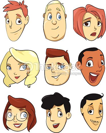 cartoon heads with ink outline happy faces vector art thinkstock