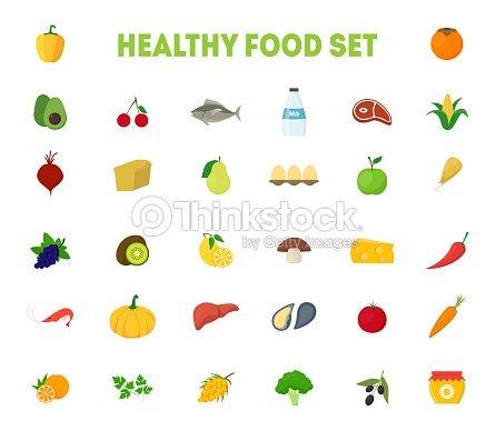Dibujos Animados Alimentos Saludables Signos Iconos Grande Conjunto