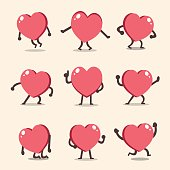 Cartoon heart character poses set for design.