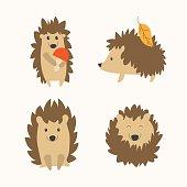 Cartoon Cute Hedgehog Set. Flat Design Style. Different Types. Vector illustration