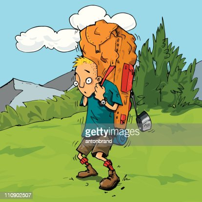 Cartoon Hiker Weighed Down By His Heavy Backpack Vector ...