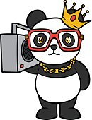 Cartoon panda holding a boombox.