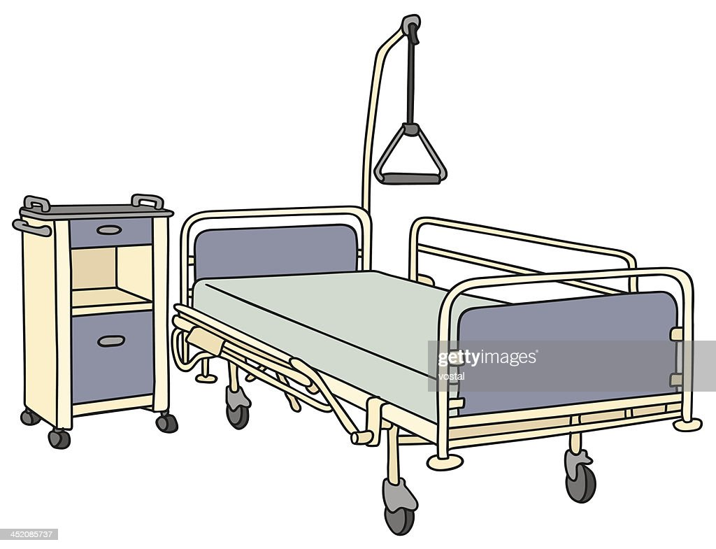 Superieur A Cartoon Hospital Bed And Night Stand : Vector Art