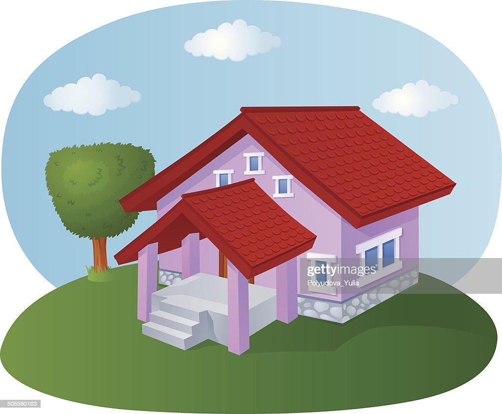 Cartoon house with a tiled roof : Vector Art