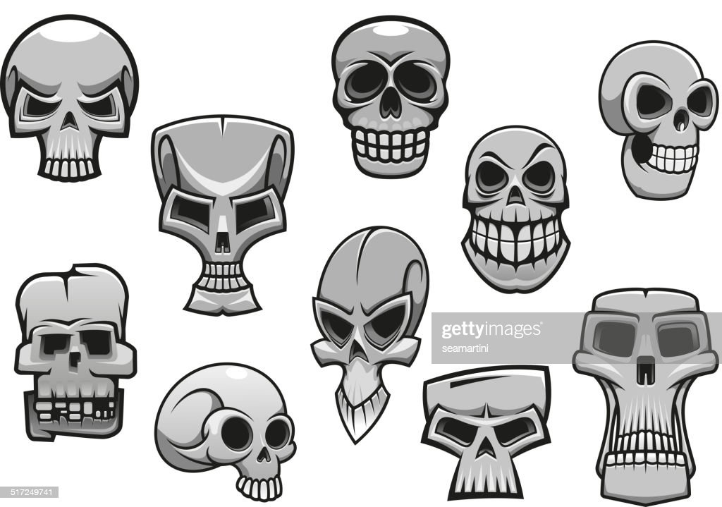 cartoon human scary halloween skulls - Halloween Skulls
