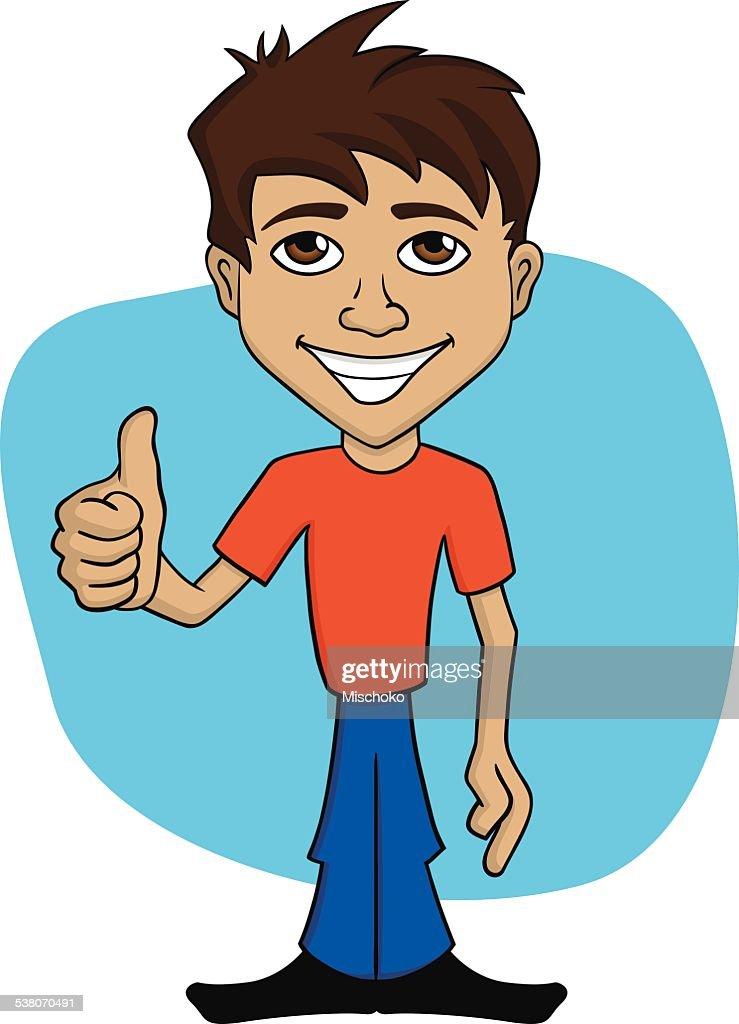 cartoon illustration of a happy man giving thumb up vector art rh thinkstockphotos co uk very happy person cartoon happy person cartoon picture