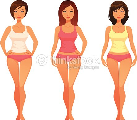 Cartoon Illustration Of A Young Woman With Healthy Slim Body Vector
