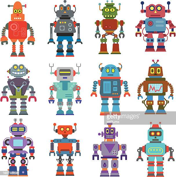 A cartoon image of different types of robots