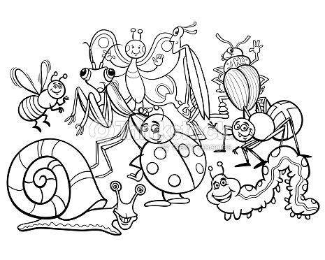 Libro Para Colorear De Animales Personajes Dibujos Animados Insectos ...