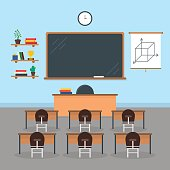 Cartoon Interior Classroom School or University with Furniture Concept Of Knowledge Flat Style Design Elements. Vector illustration