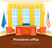 Cartoon Interior President Government Office or Cabinet Card Poster with Furniture Flat Style Design Elements. Vector illustration