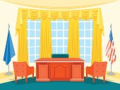 Cartoon Interior President Government Office or Cabinet with Furniture Flat Style Design Elements. Vector illustration