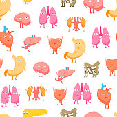 Cartoon Internal Organs Funny Emotions Seamless Pattern Background on a White Concept Flat Design Style. Vector illustration of Organ Emotion
