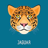 Cartoon jaguar portrait isolated on blue. Nature, wild animal and wildlife collection. Jaguar for card, book, invitation, poster, banner.