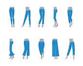 Cartoon Jeans Model for Women Fashion Basic Types Cloth Flat Design Style. Vector illustration