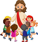 illustration of Cartoon Jesus Christ being surrounded by children