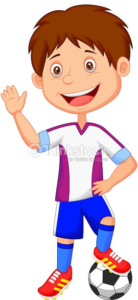 cartoon kid playing football vector art