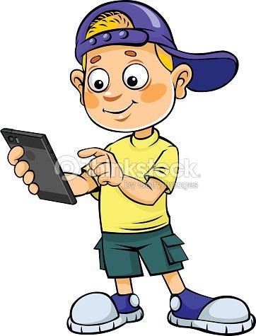 Cartoon Kid With Mobile Phone stock vector - Thinkstock